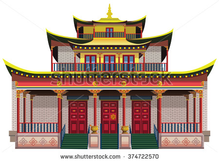 Buddhist temple clipart.