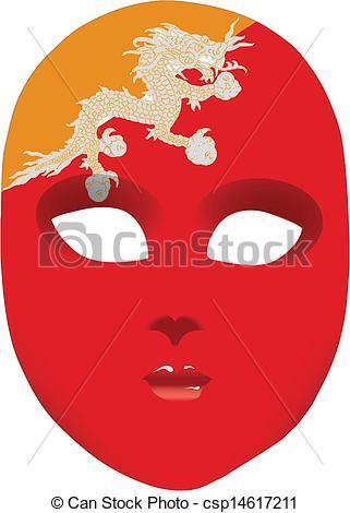 Vector Clip Art of Flag of Bhutan on the mask.