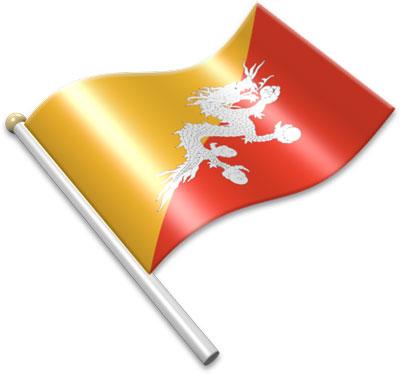 Flag Icons of Bhutan.