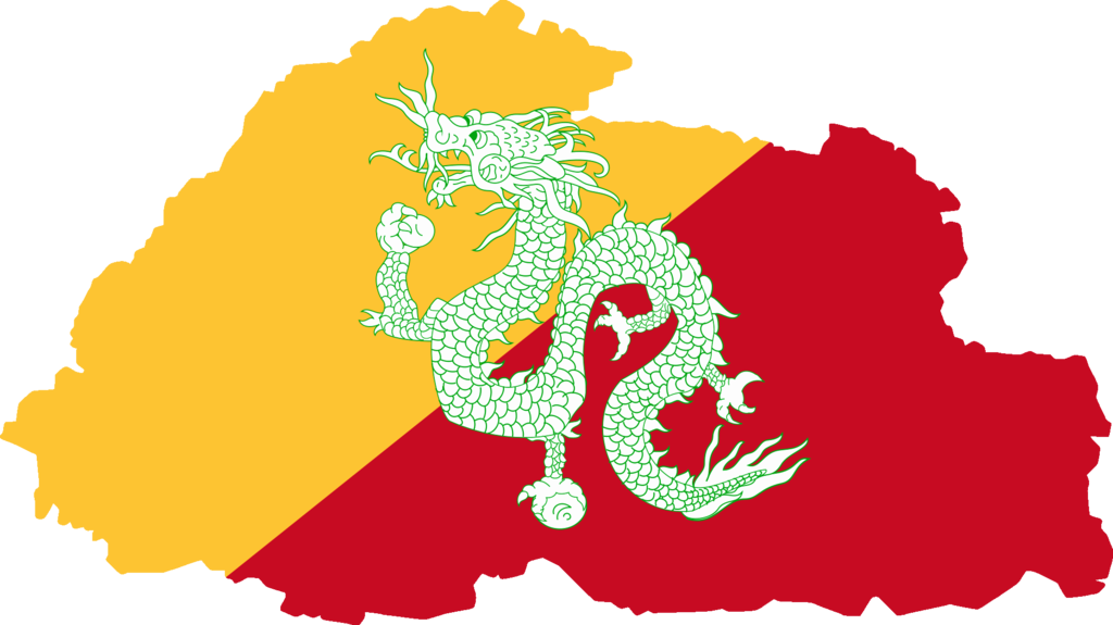 File:Flag map of Bhutan (1949.