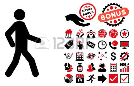 Walking Man Pictograph With Bonus Clip Art. Vector Illustration.