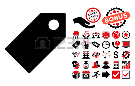 Tag Pictograph With Bonus Clip Art. Vector Illustration Style.