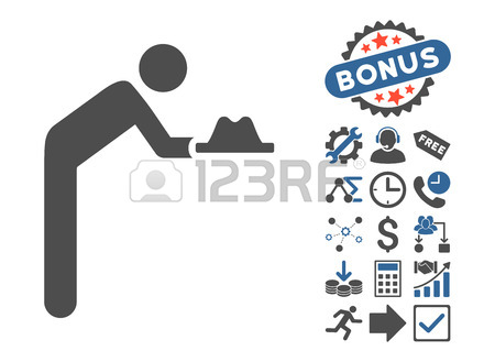 Servant With Hat Pictograph With Bonus Clip Art. Vector.