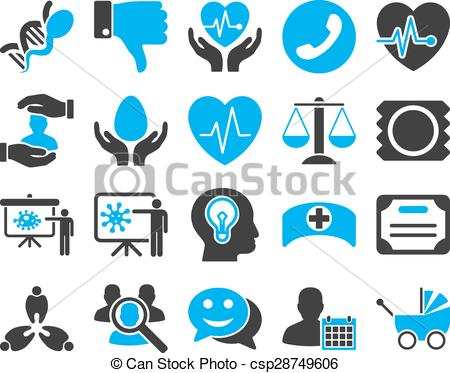Vector Clipart of Medical bicolor icons.