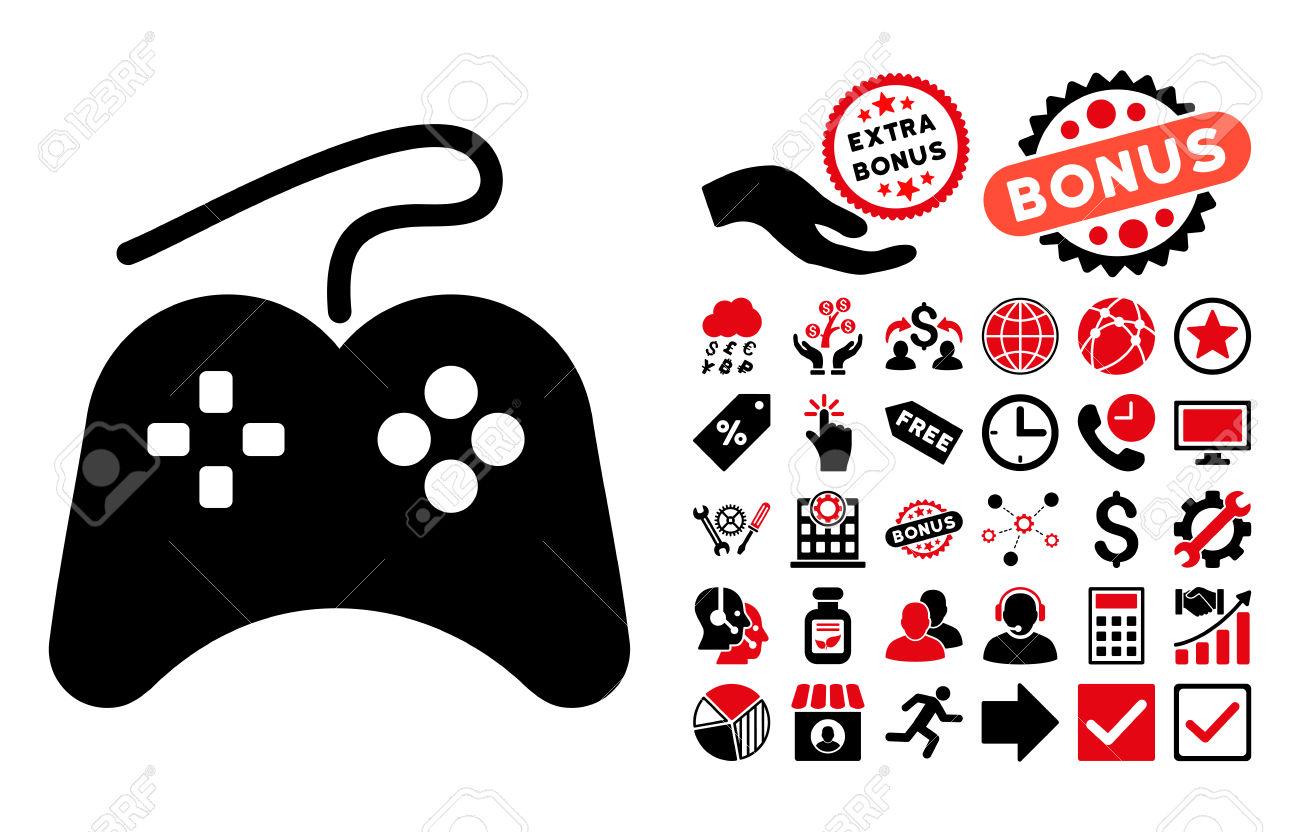 Gamepad Icon With Bonus Clip Art. Vector Illustration Style Is.