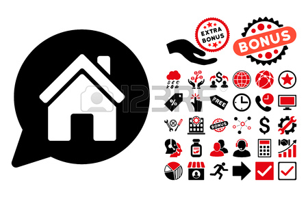 House Mention Icon With Bonus Clip Art. Vector Illustration Style.