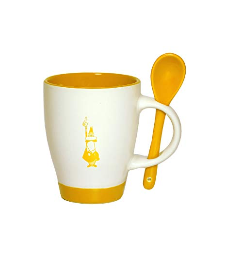 Bialetti Porcelain Mug and Spoon Set with Yellow Logo.