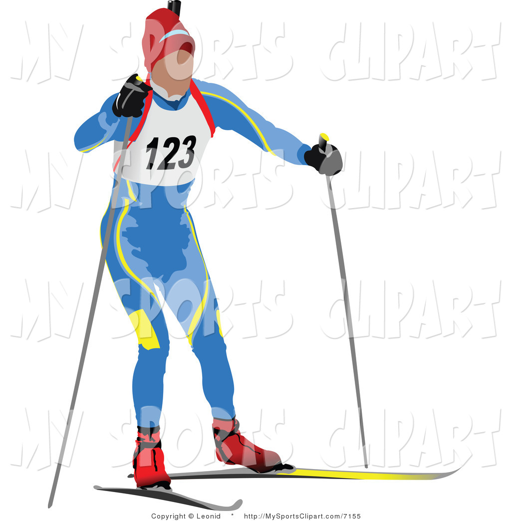 Sports Clip Art of a Biathlon Runner Icon by leonid.