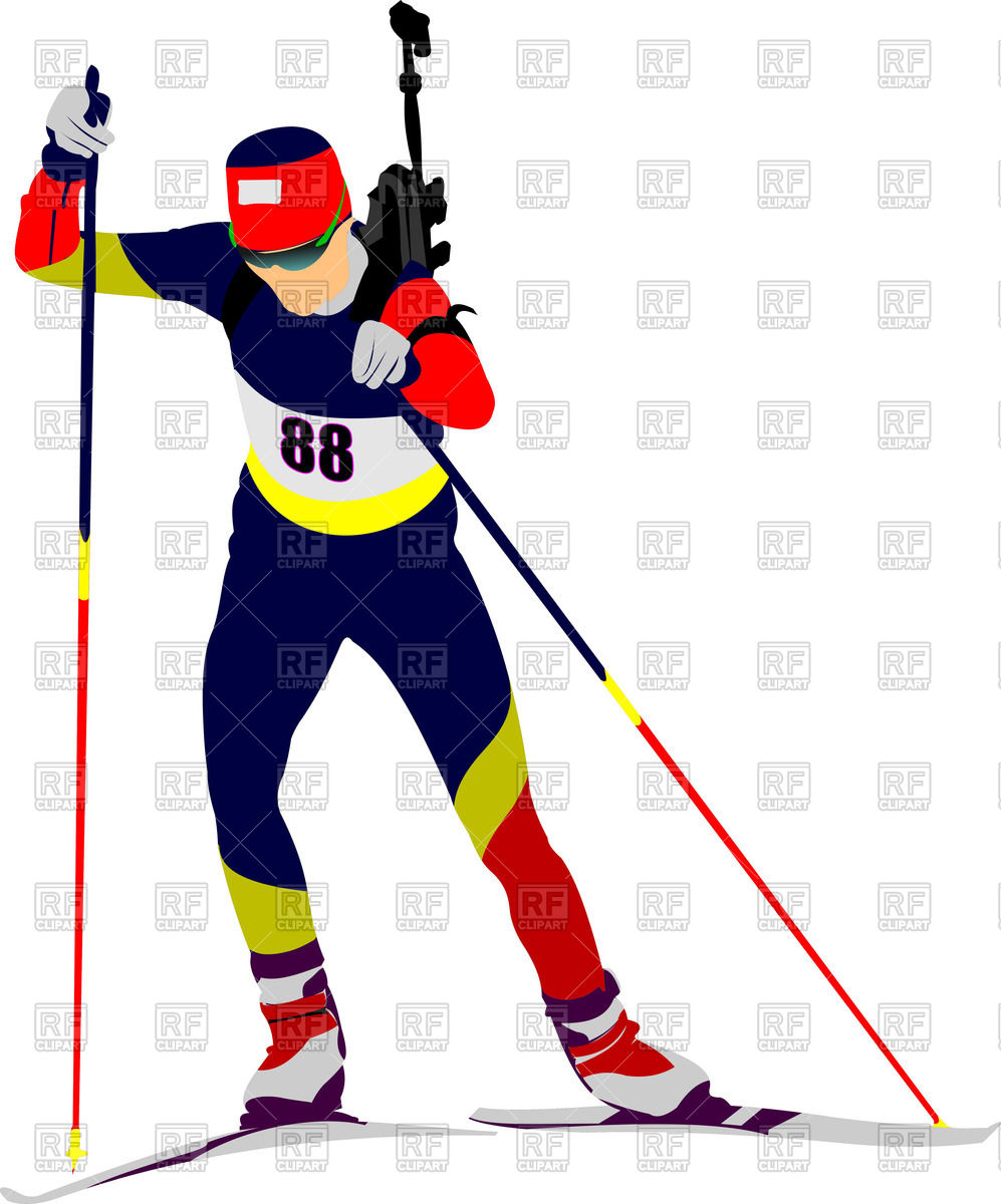 Silhouette of biathlon runner Vector Image #64976.