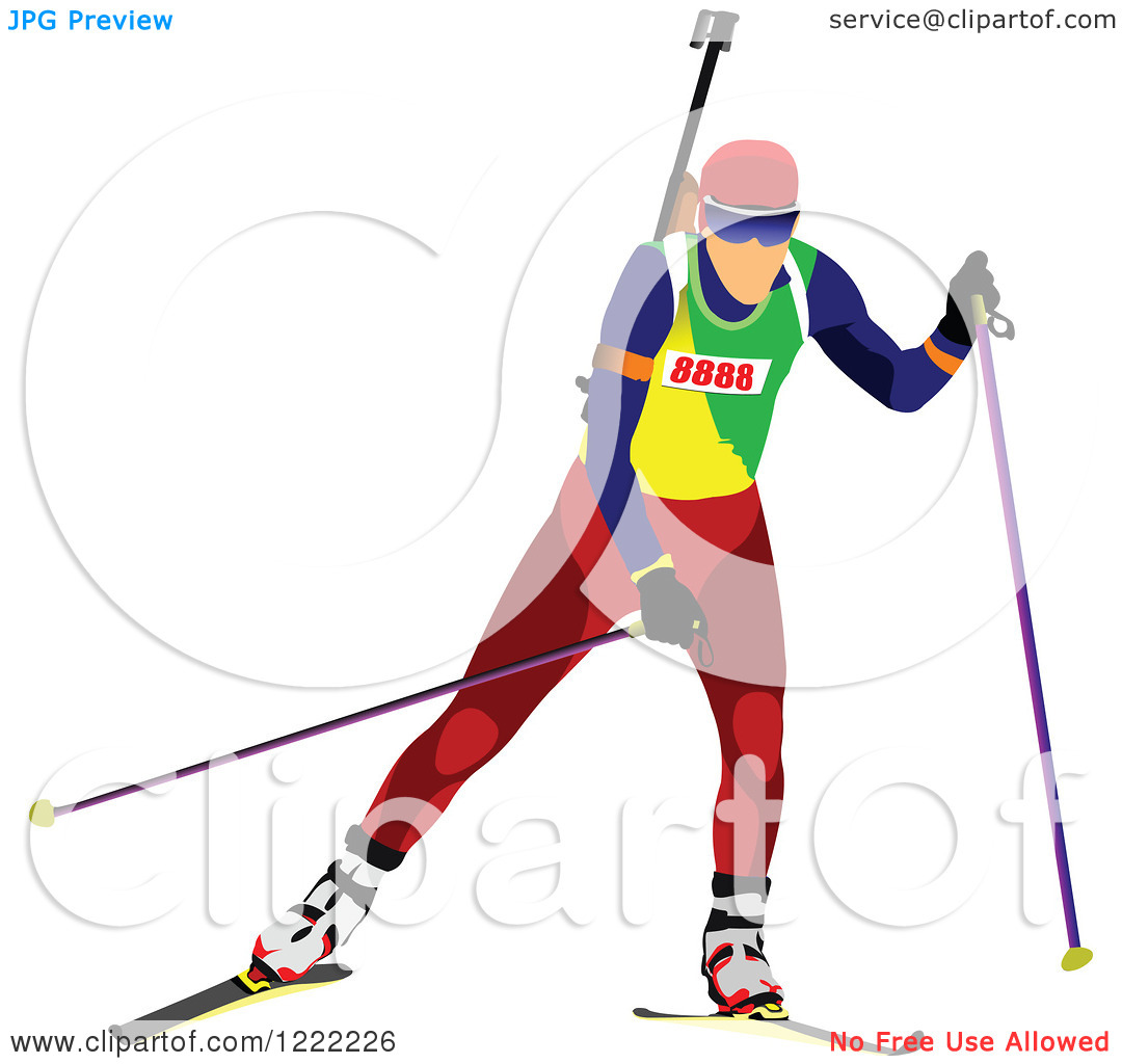 Clipart of a Biathlon Skier.