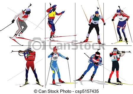 Clipart Vector of Biathlon runner colored silhouette.