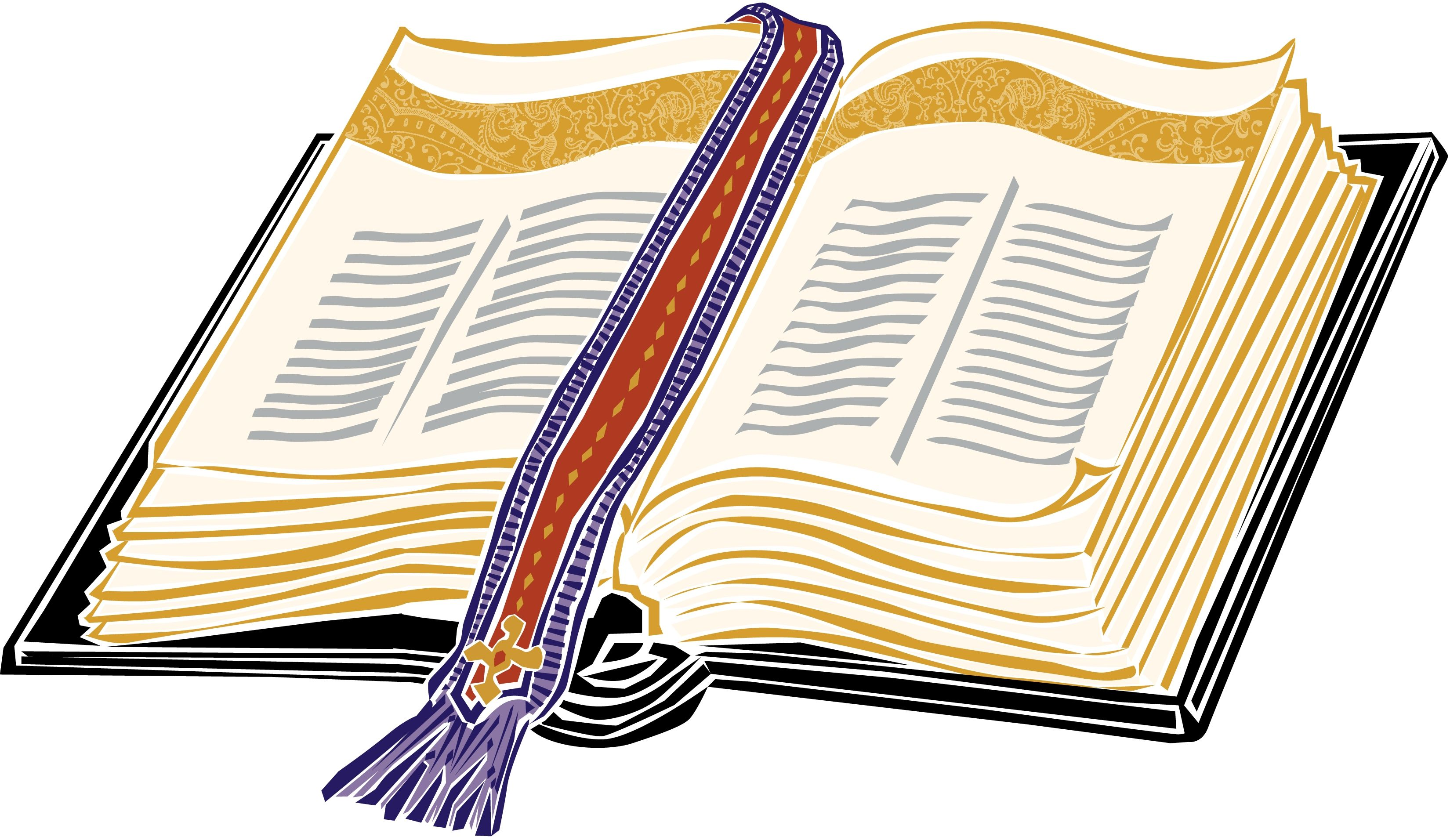 Gold Open Christian Bible Clipart.