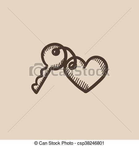 Clipart Vecteur de clés, coeur, croquis, icône, bibelot.