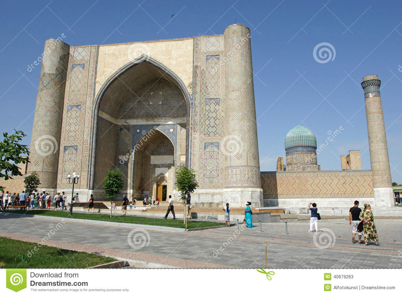 Mosque, Samarkand, Uzbekistan Editorial Stock Photo.