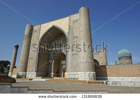 Registon Place Most Famous Attraction Samarkand Stock Photo.