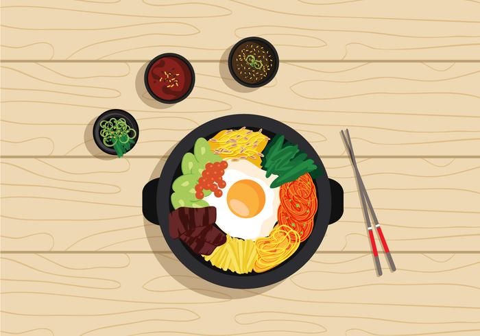 Vector Bibimbap Korean Food.