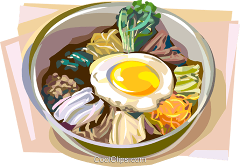 Korean Bibimbap Royalty Free Vector Clip Art illustration.