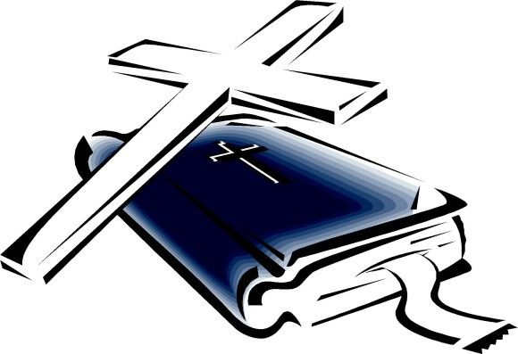 Open bible with cross clip art.