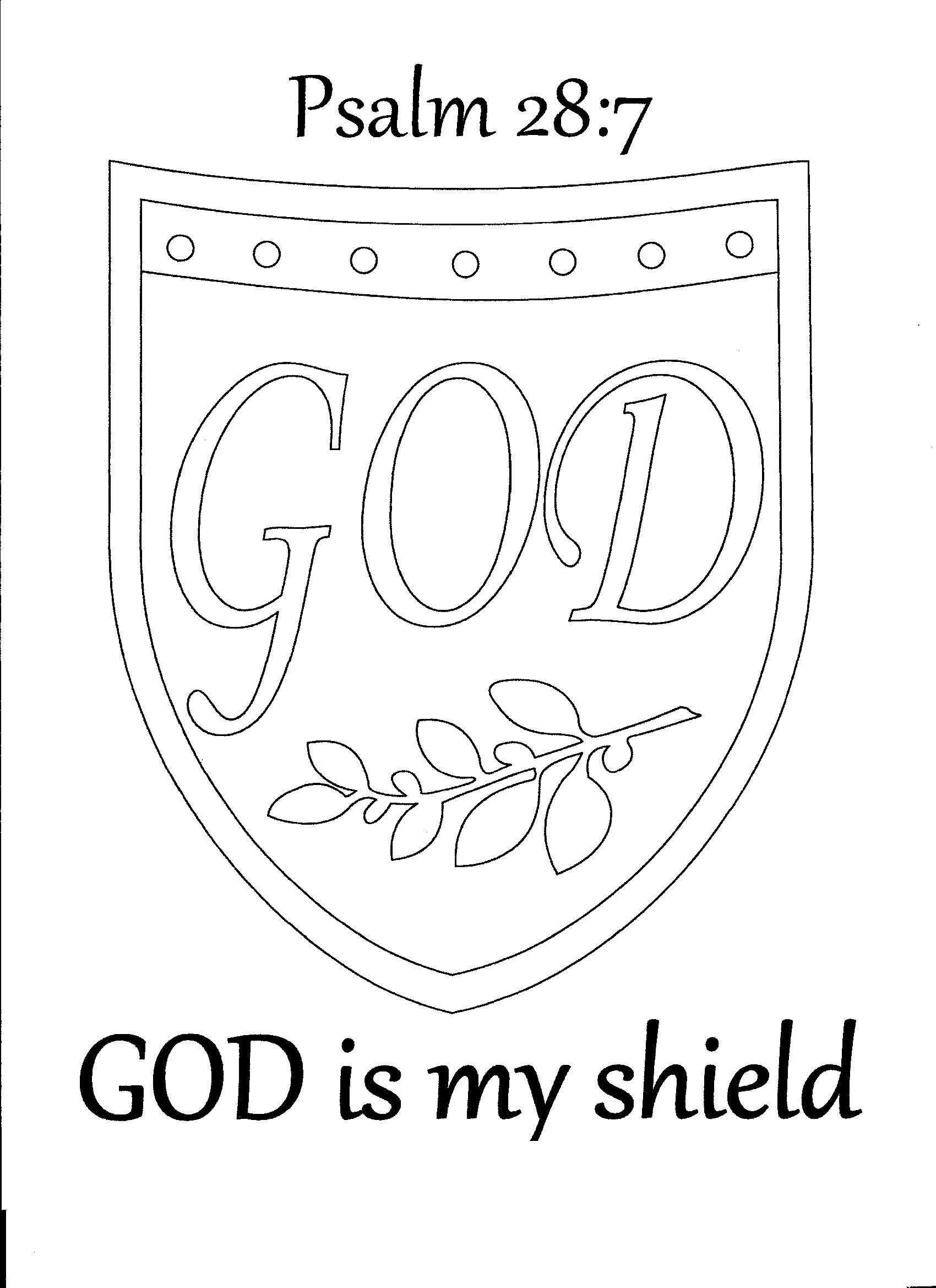 God is my shield. Psalm 28:7 coloring page.
