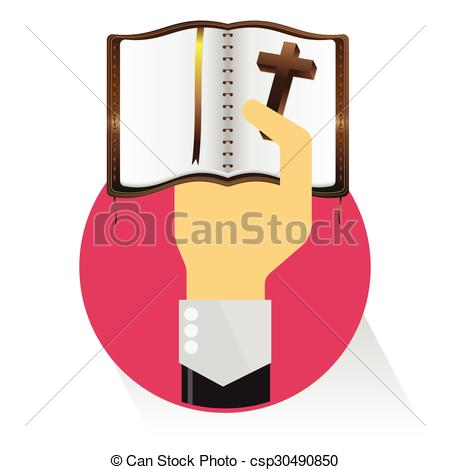 Clipart Vector of vector bible hand flat circle on white.