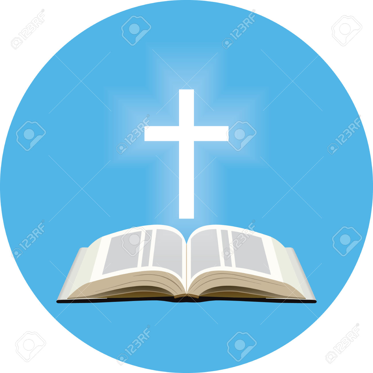 Bible And Shining Cross Concept. Icon In Blue Circle On White.