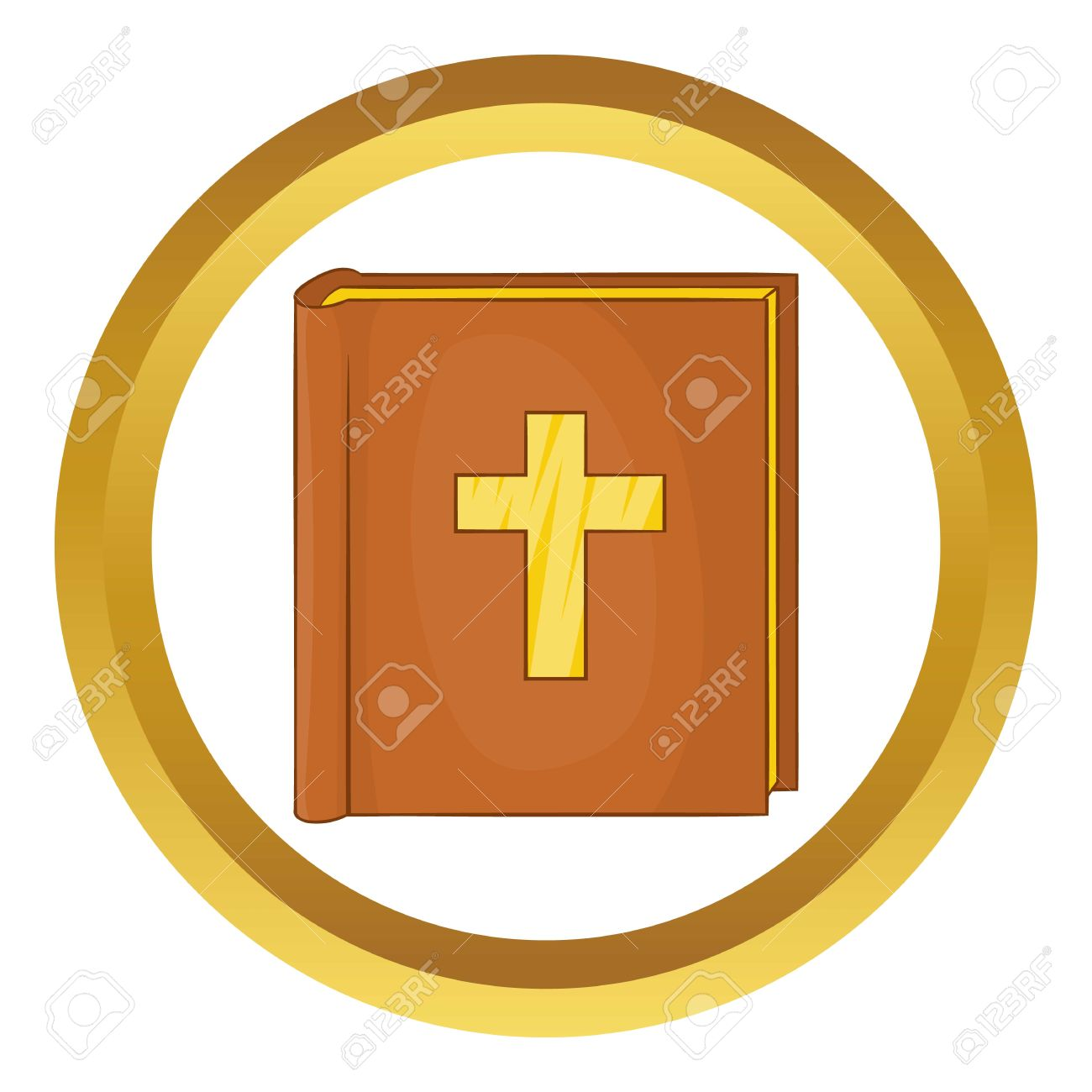 Bible Vector Icon In Golden Circle, Cartoon Style Isolated On.