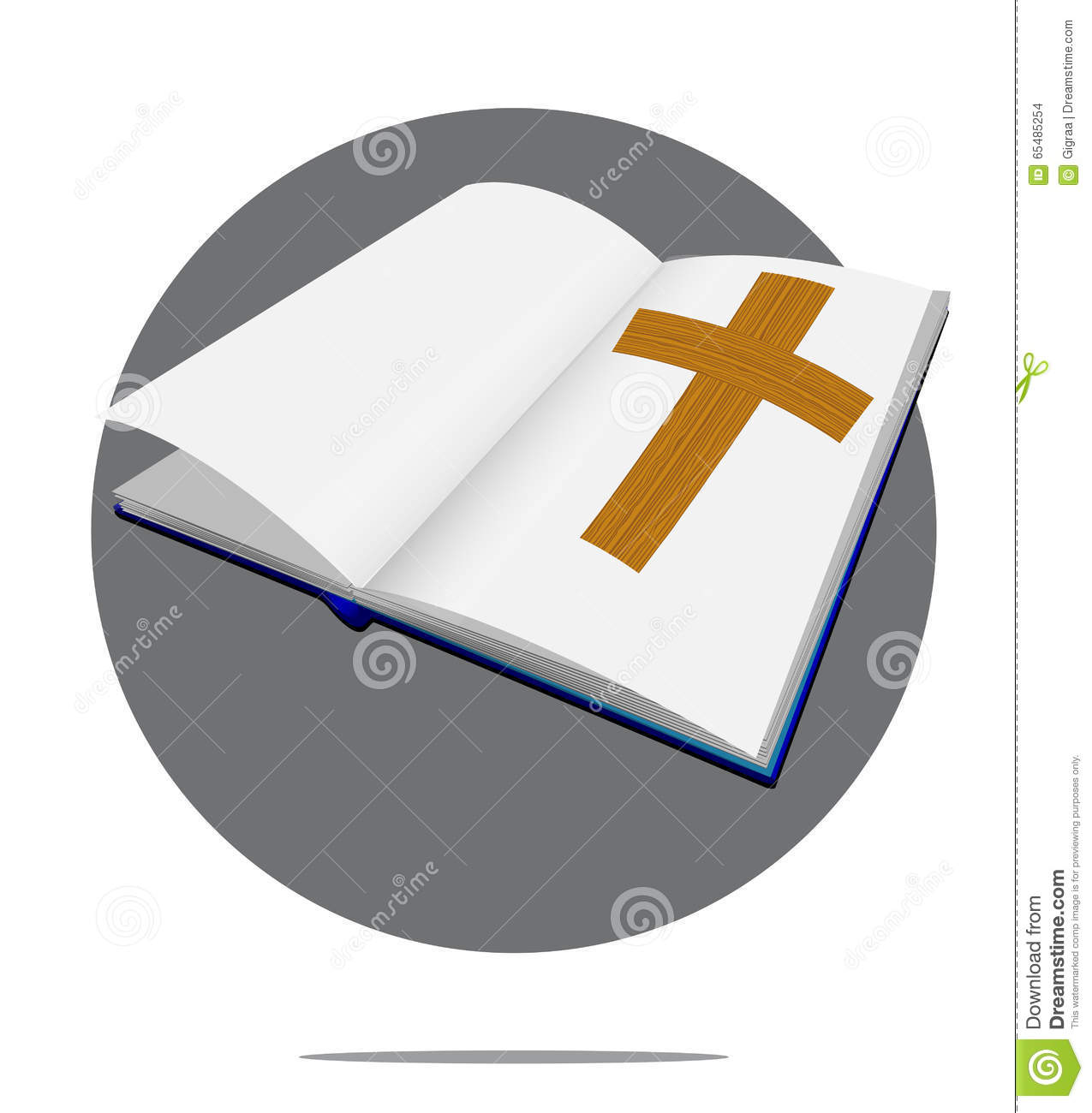 Illustration Of Bible With Cross In Circle Background Stock.