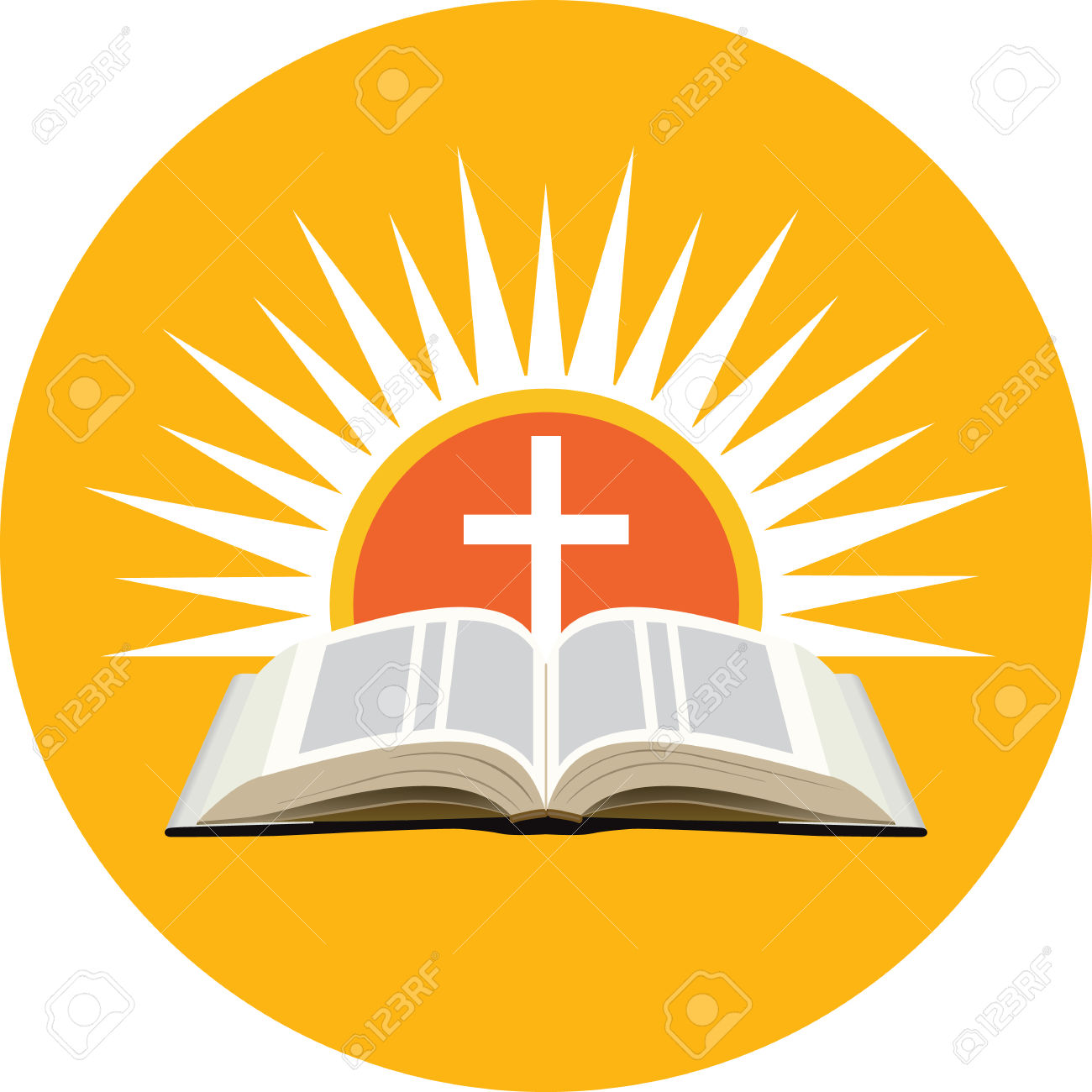 Bible, Sunset And Cross. Church Logo Concept. Icon In Orange.