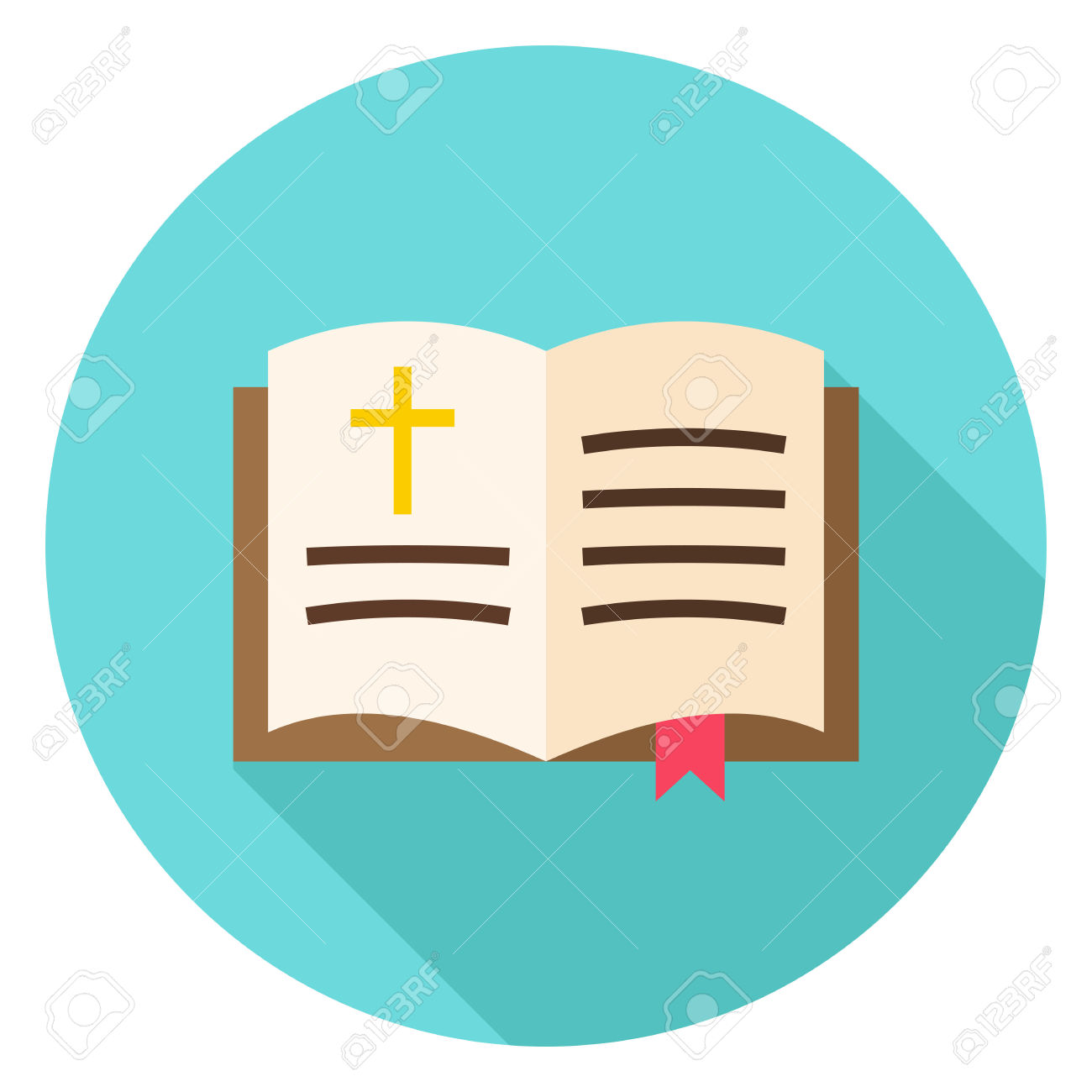 Open Bible Book With Bookmark And Cross Circle Icon. Flat Design.