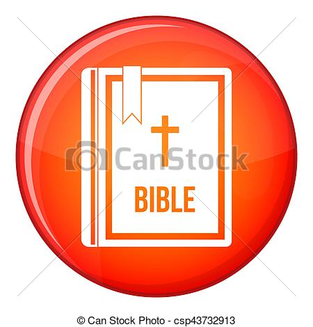 Clipart of Bible icon, flat style.