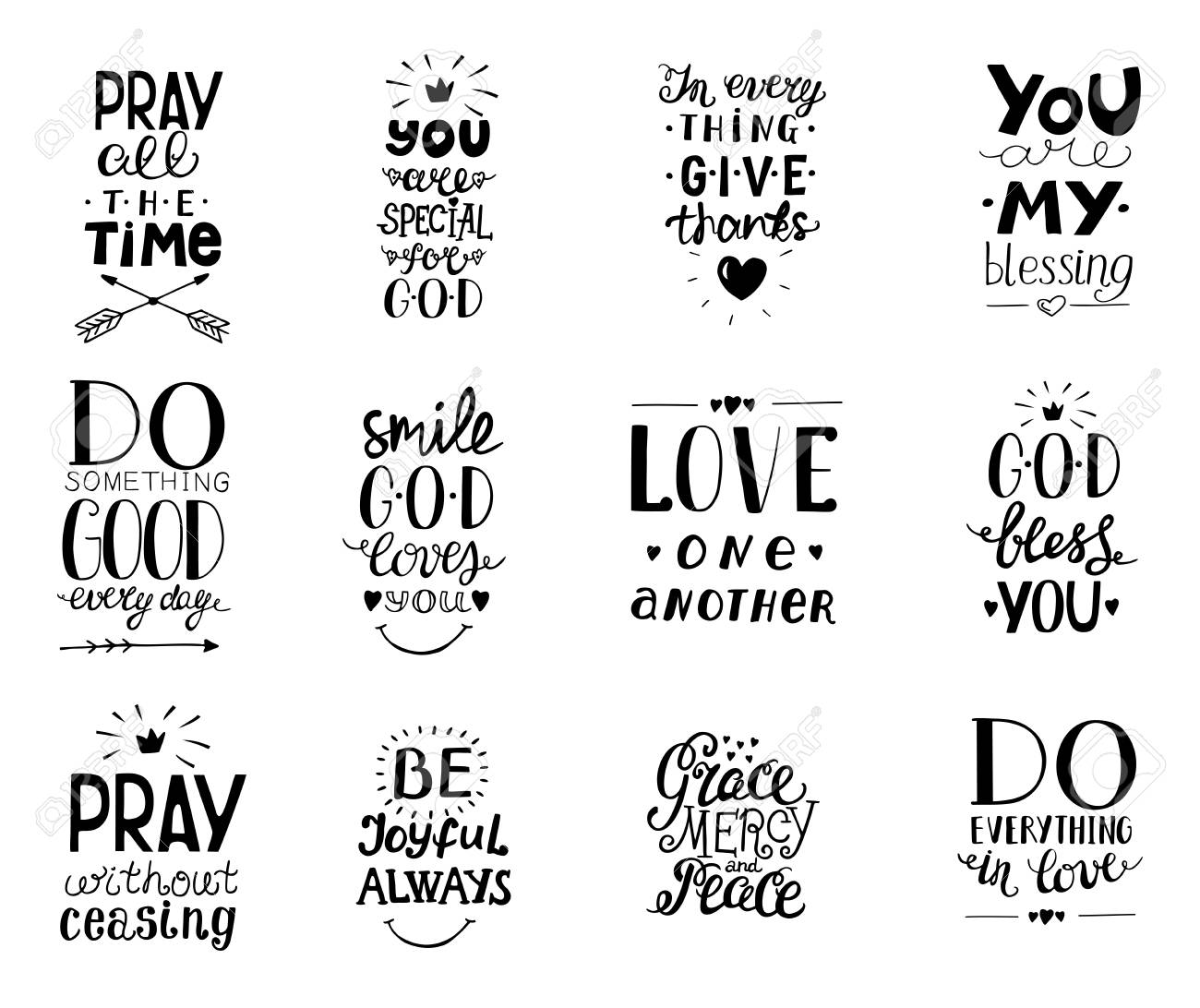 Set of 12 Hand lettering christian quotesYou blessings, Do good...