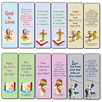 Christian Cards Bookmarks for Kids Boys Girls (60.