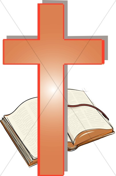 Orange Cross and Open Bible Clipart.
