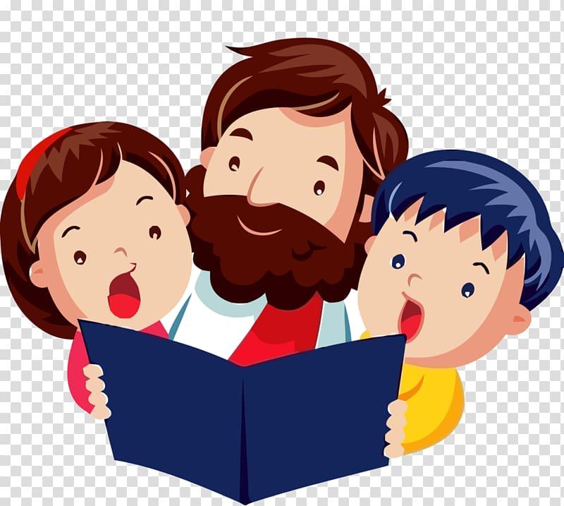 Boy and girl singing illustration, Child Jesus Bible , child.