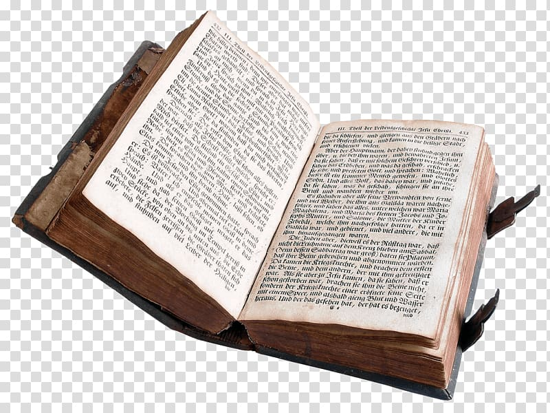 The Holy Bible, Open Old Book transparent background PNG.