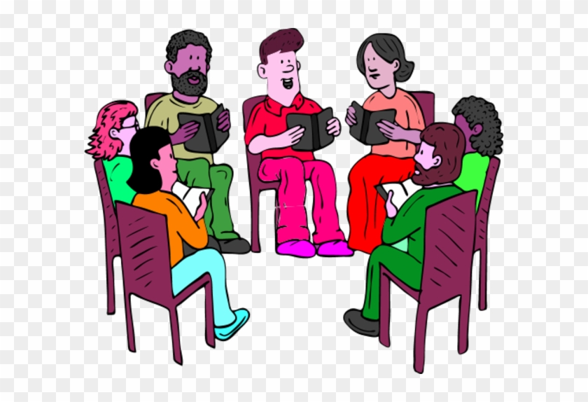 People Sitting On Chairs And Reading Books Vector Clip.