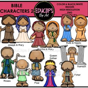 Bible Characters 2 Clip Art Bundle (Color and B&W).