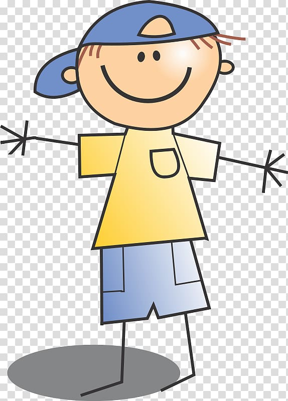 Drawing Stick figure , smiling boy transparent background.