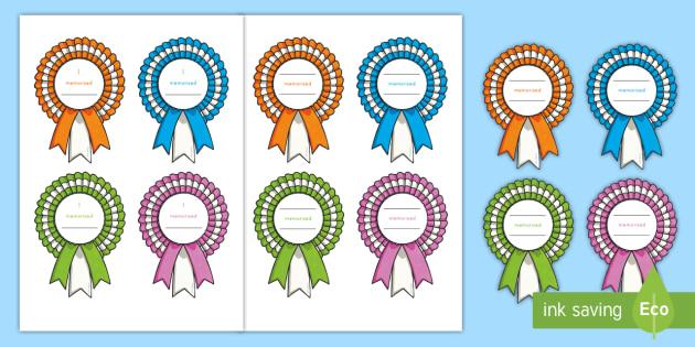 Memory Verse Rosette Award Certificates.