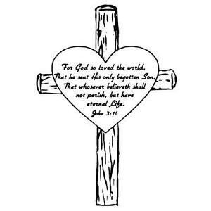 Details about John 3:16 in Heart on a Cross, unmounted rubber stamp, bible  verse, Easter #6.