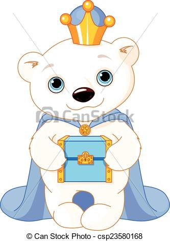 Clip Art Vector of The Polar Bear as a Biblical Magi.