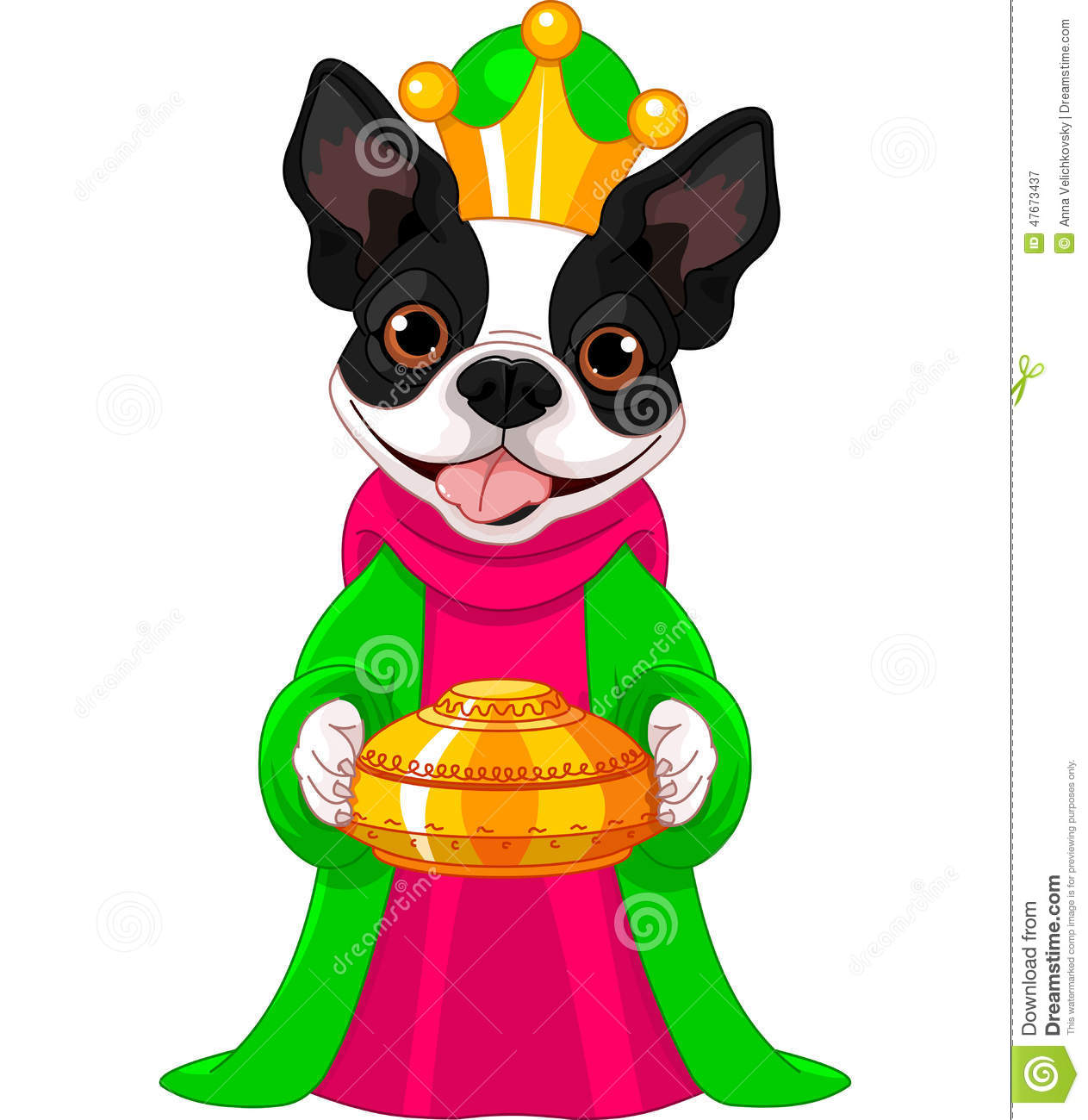 The Boston Terrier As A Biblical Magi Stock Vector.
