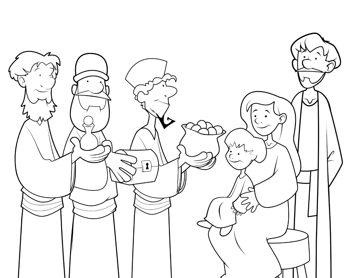 gold frankincense and myrrh coloring pages | Biblical magi clipart - Clipground