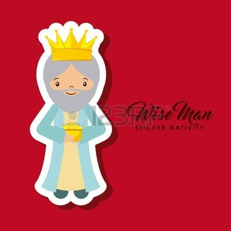 Red wise man clipart.