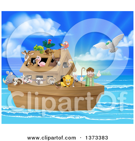 Clipart of a Christian Bible Story Scene of Noah on His Ark with.