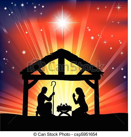 Vector of Christian Christmas Nativity Scene.