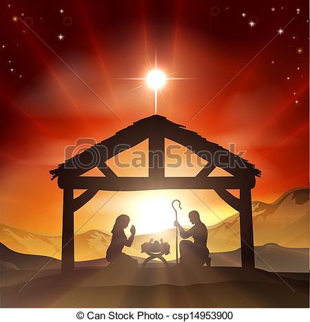 Vector Clipart of Nativity Christian Christmas Scene.
