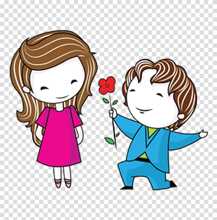 Man giving flower to a woman illustration, Bible Love couple.