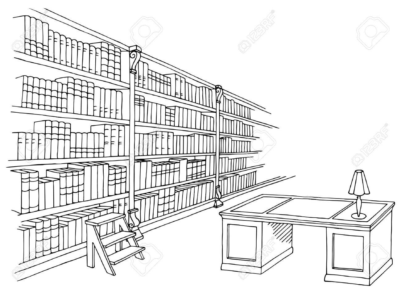 Library room interior black white graphic sketch illustration...