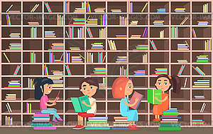Children in Library Read Books Beside Bookcase.